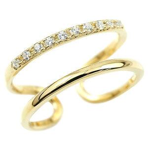 指輪 ピンキーリング イエローゴールドk18 キュービックジルコニア 2連リング フリーサイズリング フリスタ 18金 の 送料無料 LGBTQ ユニセックス 男女兼用