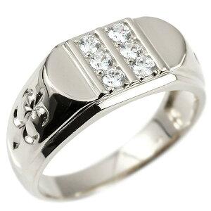 メンズ リング ダイヤモンド ホワイトゴールドk10 ユリの花 幅広 印台 指輪 リング シンプル ダイヤ ピンキーリング 10金 男性用 フルール・ド・リス の 送料無料