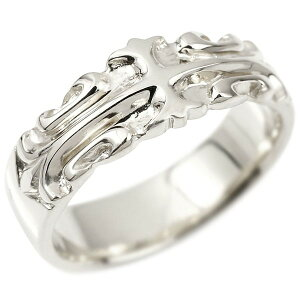 メンズ リング ホワイトゴールドk18 クロス ユリの花 幅広 指輪 地金 リング シンプル 宝石なし ピンキーリング フルール・ド・リス 18金 男性用