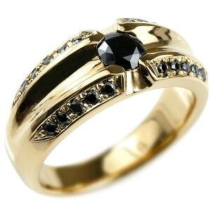 メンズ リング ブラックダイヤモンド イエローゴールドk18 幅広 指輪 リング ブラックダイヤ 一粒 大粒 18金 男性用 送料無料