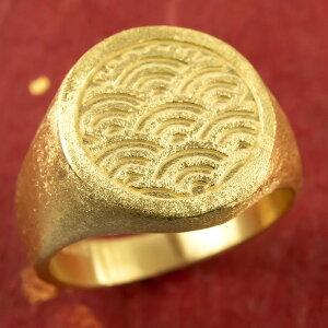 24金 指輪 メンズ 印台 青海波 純金 リング 幅広 k24 24k 金 ゴールド ピンキーリング シンプル 人気 男性用 送料無料