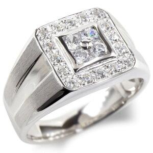 シルバー リング ダイヤモンド 印台 ダイヤ 指輪 sv925 太め ピンキーリング 幅広 つや消し 上品 送料無料 LGBTQ ユニセックス 男女兼用