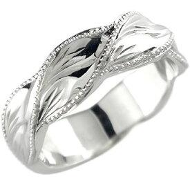 ハワイアンジュエリー メンズ ハワイアンリング マイレ 指輪 ホワイトゴールドK18 18金ストレート 男性用 送料無料 父の日