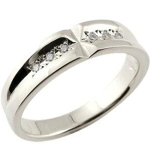 メンズリング 人気 指輪 ダイヤモンド リング ホワイトゴールドK18 結婚指輪 クロス 18金ピンキーリング ダイヤ ストレート 男性用 送料無料