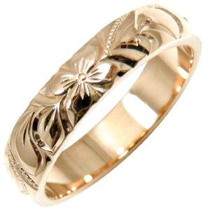 ハワイアンジュエリー メンズ ハワイアンリング 指輪 ピンクゴールドK18 K18PG 18金ストレート 男性用 送料無料