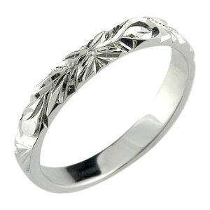 ハワイアンジュエリー メンズ ハワイアンリング ピンキーリング 指輪 ホワイトゴールドK18 オリジナルリング 18金ストレート 男性用 送料無料 人気