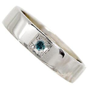 メンズリング 人気 ブルーダイヤモンド リング 一粒ダイヤ 0.03ct 幅広 指輪 ホワイトゴールドk18 18金ピンキーリング ストレート 宝石 送料無料