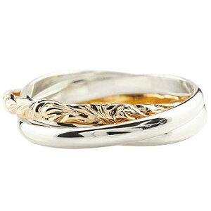 ハワイアンジュエリー 指輪 3連 リング シンプル メンズ プラチナ ピンクゴールドk18 甲丸リング コンビリング 地金リング pt900 18金 送料無料 人気