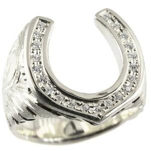リング メンズ ダイヤモンド 指輪 シルバー sv925 ハワイアンジュエリー ダイヤ 馬蹄 ホースシュー 蹄鉄 ピンキーリング 男性 幅広 送料無料 人気