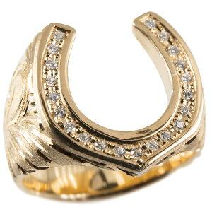 リング メンズ ゴールド ダイヤモンド 指輪 10k ピンクゴールドk10 ハワイアンジュエリー ダイヤ 馬蹄 ホースシュー ピンキーリング 男性 幅広 送料無料 人気