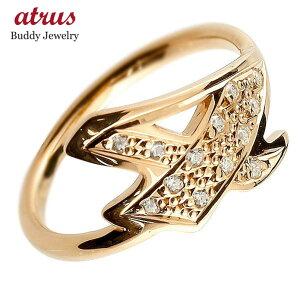 メンズ ピンキーリング ダイヤモンド ナンバー4 ピンクゴールドk18 18金 リング 指輪 数字 ストレート 男性 送料無料 人気