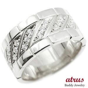 メンズ リング ダイヤモンド ホワイトゴールドk10 幅広 指輪 リング ダイヤ 10金 ピンキーリング 男性用 送料無料