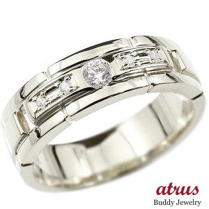メンズ リング ホワイトゴールドk10 ダイヤモンド エンゲージリング ダイヤ 指輪 幅広 ピンキーリング 10金 宝石 男性用 ストレート 送料無料 人気