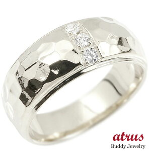 リング ダイヤモンド ホワイトゴールドk10 幅広 槌目 槌打ち ロック仕上げ 指輪 リング ダイヤ 10金 ピンキーリング 送料無料 LGBTQ ユニセックス 男女兼用