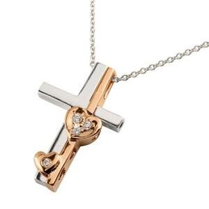 クロス ハート ネックレス ダイヤモンド ダイヤペンダント ホワイトゴールドk18 十字架セパレート 18金 送料無料 の トップ LGBTQ ユニセックス 男女兼用