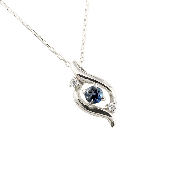 ダイヤモンド ドロップ ネックレス サファイア ホワイトゴールドk10 9月誕生石 チェーン k10 10金 人気 ダイヤ プチネックレス 贈り物 誕生日プレゼント ギフト ファッション