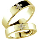 【送料無料】 クロス ペアリング 結婚指輪 マリッジリング ダイヤモンド イエローゴールドk18 幅広 結婚式 18金 ダイヤ ストレート カップル ブライダル...