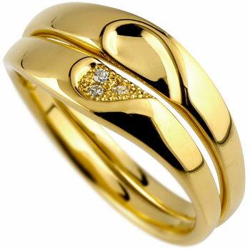 結婚指輪 ペアリング ダイヤモンド マリッジリング ハート イエローゴールドk18 ミル打ち 結婚式 18金 ダイヤ ストレート カップルブライダル シンプル 人気 ペア シンプル 2本セット 彼女 結婚記念日