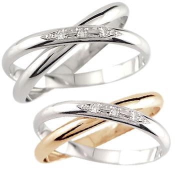 結婚指輪 【送料無料】ペアリング プラチナ マリッジリング ダイヤモンド 2連 ピンクゴールドk18 結婚式 18金 ダイヤ ストレート カップル 2.3 贈り物 誕生日プレゼント ギフト ファッション
