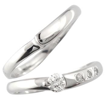 ペアリング 鑑定書付き 一粒 ダイヤモンド 結婚指輪 マリッジリング ホワイトゴールドk18 SI 結婚式 18金 ダイヤ ストレート カップル 贈り物 誕生日プレゼント ギフト ファッション Xmas Christmas
