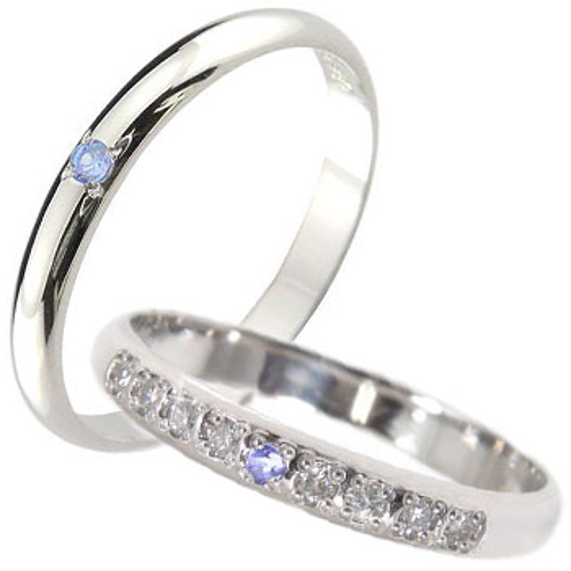結婚指輪 ペアリング プラチナ ダイヤモンド マリッジリング タンザナイト 甲丸 ダイヤ ストレート カップル 贈り物 誕生日プレゼント ギフト ファッション