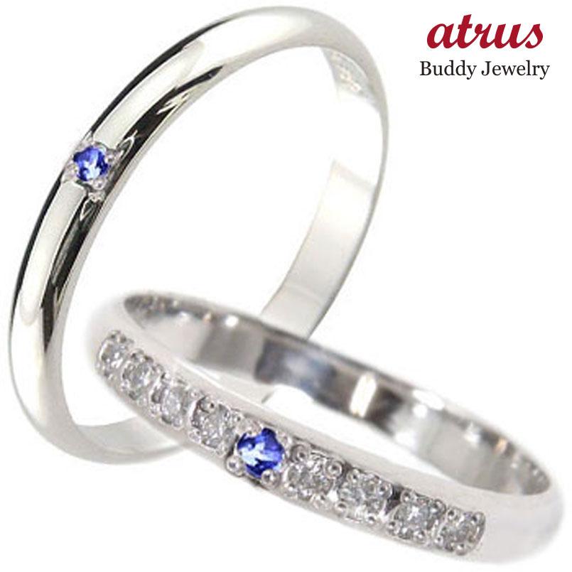 結婚指輪 ペアリング プラチナ ダイヤモンド マリッジリング サファイア 甲丸 ダイヤ ストレート カップル 贈り物 誕生日プレゼント ギフト ファッション