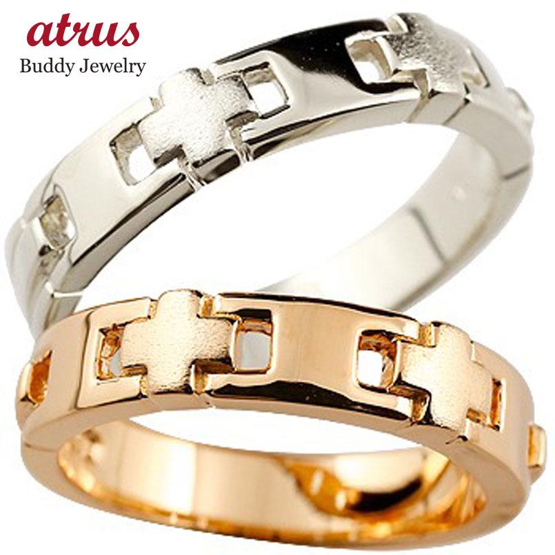 【送料無料】クロス ペアリング 結婚指輪 マリッジリング 幅広 リング 地金リング ピンクゴールドk18 ホワイトゴールドk18 十字架 つや消し 18金 結婚式 ストレート 贈り物 誕生日プレゼント ギフト ファッション