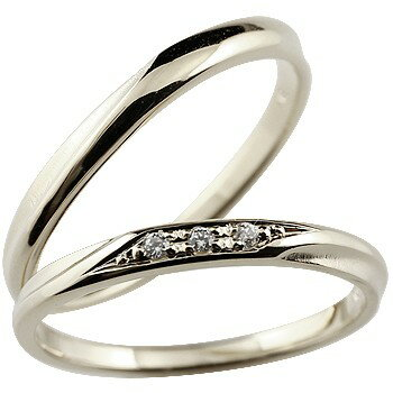 ペアリング ダイヤモンド 結婚指輪 マリッジリング ホワイトゴールドk18 18金 シンプル つや消し 結婚式 ダイヤ ストレート スイートペアリィー カップル 贈り物 誕生日プレゼント ギフト ファッション