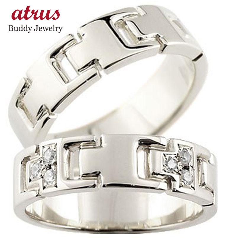 【送料無料】ペアリング ダイヤモンド ホワイトゴールドk18 結婚指輪 マリッジリング ダイヤ シンプル 結婚式 18金 人気 ストレート カップル 贈り物 誕生日プレゼント ギフト ファッション