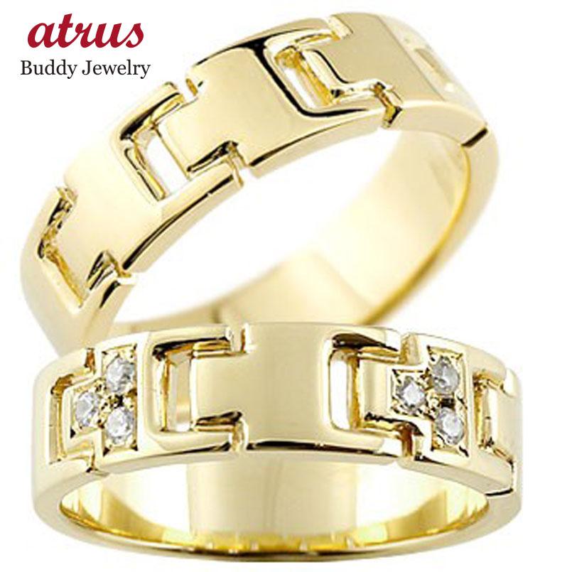 【送料無料】ペアリング ダイヤモンド イエローゴールドK18 結婚指輪 マリッジリング ダイヤ シンプル 結婚式 18金 人気 ストレート カップル 贈り物 誕生日プレゼント ギフト ファッション