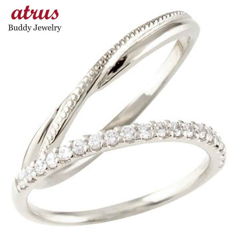 結婚指輪 ペアリング マリッジリング ハーフエタニティ ダイヤモンド ホワイトゴールドk18 18金 極細 華奢 ストレート スイートペアリィー カップル 贈り物 誕生日プレゼント ギフト ファッション