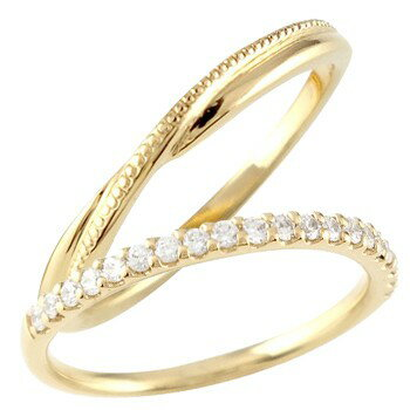 結婚指輪 ペアリング マリッジリング ハーフエタニティ ダイヤモンド イエローゴールドk18 18金 極細 華奢 ストレート スイートペアリィー カップル 贈り物 誕生日プレゼント ギフト ファッション