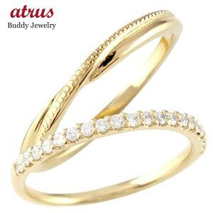 ペアリング 結婚指輪 マリッジリング ハーフエタニティ ダイヤモンド イエローゴールドk10 10金 華奢 ストレート スイートペアリィー カップル 送料無料 の 2個セット LGBTQ 男女兼用