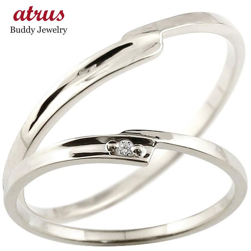 【送料無料】ペアリング 結婚指輪 マリッジリング ダイヤモンド ホワイトゴールドk10 ダイヤ 10金 極細 華奢 スパイラル 結婚式 スイートペアリィー カップル 贈り物 誕生日プレゼント ギフト ファッション