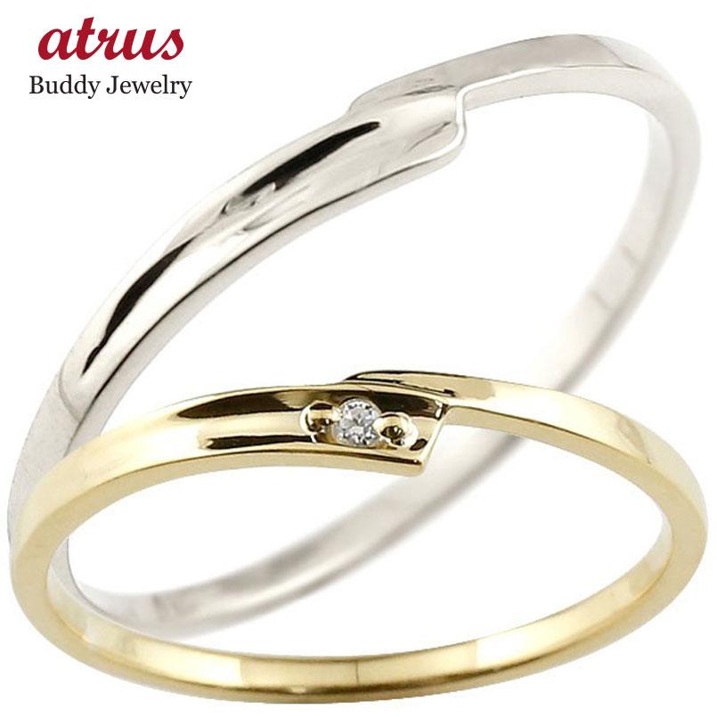 ペアリング 結婚指輪 マリッジリング ダイヤモンド イエローゴールドk18 ホワイトゴールドk18 ダイヤ 18金 極細 華奢 スパイラル 結婚式 スイートペアリィー カップル 贈り物 誕生日プレゼント ギフト ファッション