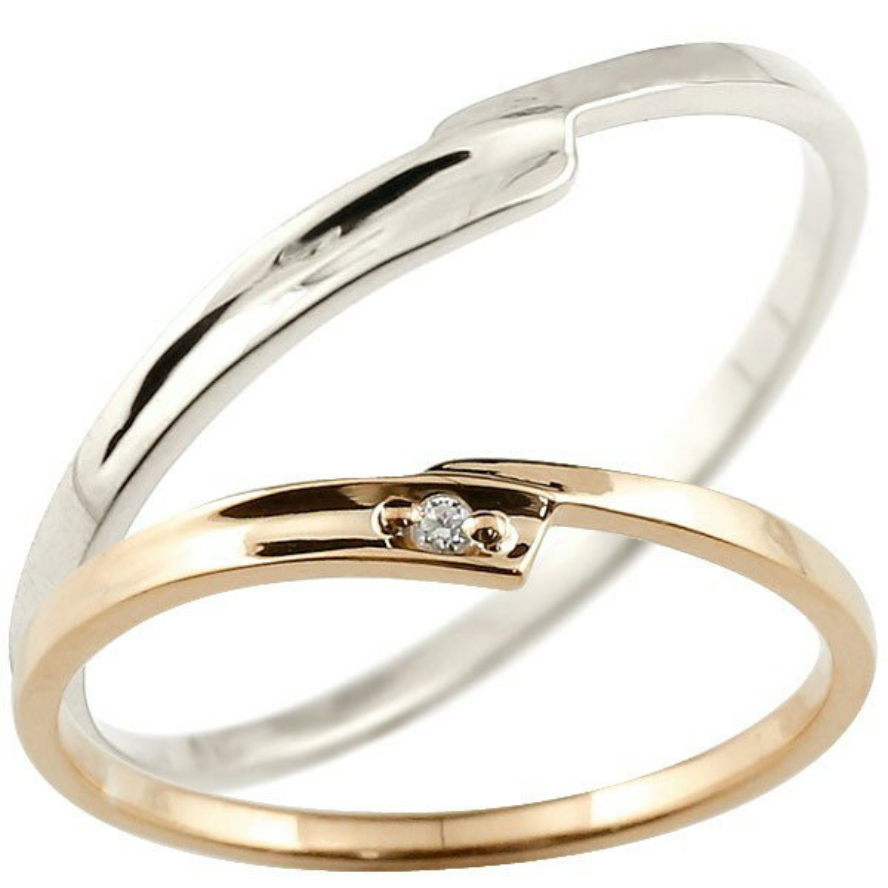 ペアリング 結婚指輪 マリッジリング ダイヤモンド ピンクゴールドk10 ホワイトゴールドk10 ダイヤ 10金 極細 華奢 スパイラル 結婚式 スイートペアリィー カップル 贈り物 誕生日プレゼント ギフト ファッション