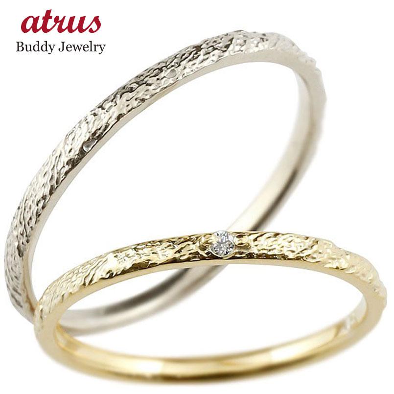 【送料無料】ペアリング 結婚指輪 マリッジリング イエローゴールドk10 ダイヤモンド ホワイトゴールド 10金 極細 ダイヤ 華奢 アンティーク 結婚式 ストレート スイートペアリィー 贈り物 誕生日プレゼント ギフト ファッション