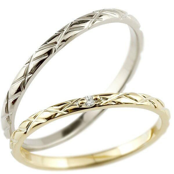 ペアリング 結婚指輪 マリッジリング ダイヤモンド イエローゴールドk10 ホワイトゴールド ダイヤ 10金 極細 華奢 アンティーク 結婚式 ストレート スイートペアリィー 贈り物 誕生日プレゼント ギフト ファッション