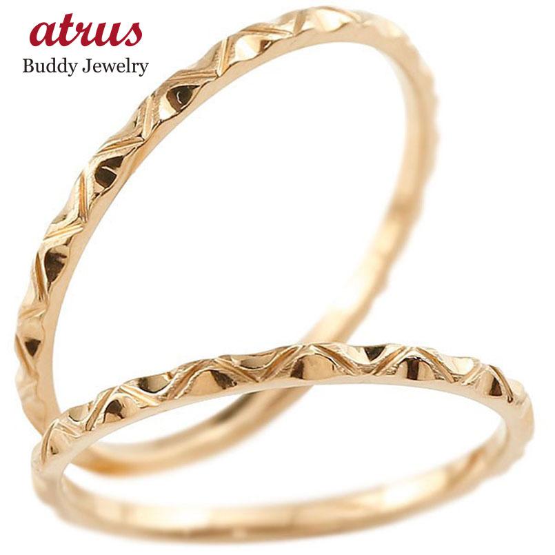 【送料無料】ペアリング 結婚指輪 マリッジリング ピンクゴールドk10 k10 極細 華奢 アンティーク 結婚式 ストレート 10金 スイートペアリィー カップル 贈り物 誕生日プレゼント ギフト ファッション