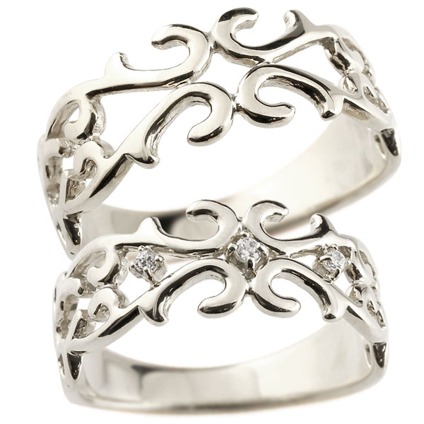 結婚指輪 【送料無料】ペアリング 指輪 ホワイトゴールドk10 ダイヤモンド 透かし アラベスク ストレート ダイヤ 10金 ファッション