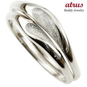 結婚指輪 【送料無料】ペアリング マリッジリング ハート ホワイトゴールドk18 18金 シンプル つや消し ストレート スイートペアリィー カップル ファッション パートナー