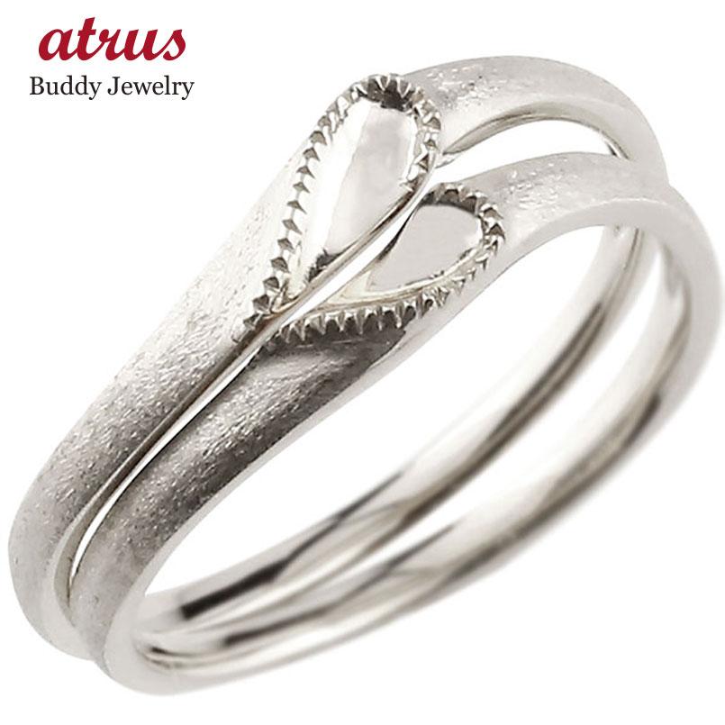 結婚指輪 【送料無料】ペアリング マリッジリング ハート ホワイトゴールドk18 18金 シンプル つや消し ストレート スイートペアリィー カップル ファッション