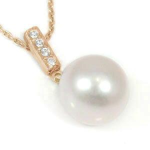 パールペンダント 真珠 フォーマル パール ネックレス トップ 一粒 ダイヤモンド ペンダント ピンクゴールドk18 アコヤ 本真珠 ダイヤ 18金 レディース 送料無料