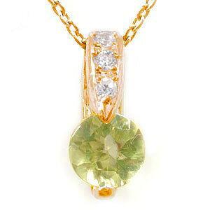 ペリドット ダイヤモンド ペンダント ネックレス トップ ピンクゴールドK18 ダイヤ 18金 レディース 宝石 送料無料