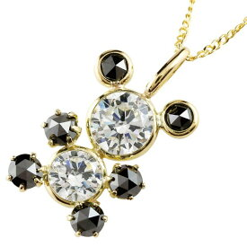 ダイヤモンド ペンダントネックレス ブラックダイヤモンド ローズカット K18イエローゴールドアニマルパンダ ダイヤ 18金 レディース 送料無料