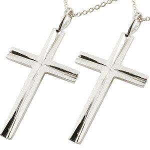 18金 クロス ペア ネックレス トップ ゴールド 18k 十字架 ペアネックレス ホワイトゴールドk18 シンプル つや消し チェーン メンズ レディース 送料無料