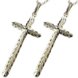 ハワイアンジュエリー ペアネックレス トップ クロス 十字架 ペンダント ホワイトゴールドk18 18金 ミル打ち チェーン 人気 カップル レディース 送料無料