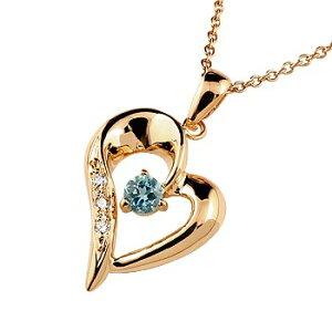 ダイヤモンド オープンハート ネックレス トップ ブルートパーズ ペンダント ピンクゴールドk18 18金 レディース チェーン 人気 11月誕生石 ダイヤ 宝石 送料無料