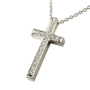 クロス ネックレス トップ ダイヤモンド プラチナ ペンダント ダイヤ 十字架 レディース チェーン 人気 送料無料