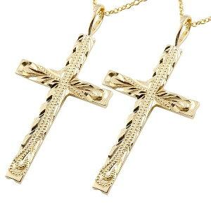 ハワイアンジュエリー ペアネックレス トップ クロス 十字架 イエローゴールドk10 ペンダント ミル打ち チェーン 10金 カップル レディース 送料無料